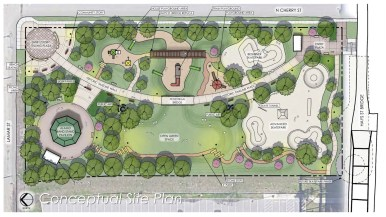 This conceptual plan shows the general design for the park planned for the empty lot next to the Hays Street Bridge.