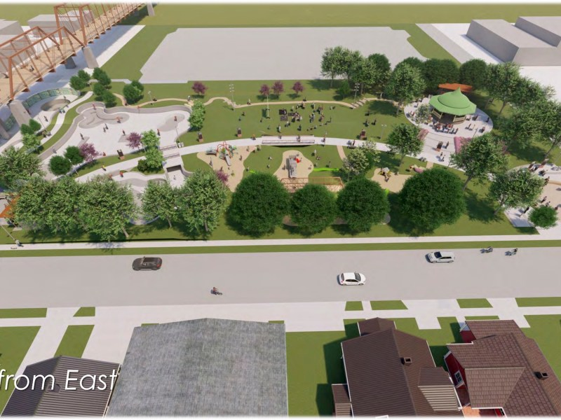 This rendering shows the preliminary design of The Berkley V. and Vincent M. Dawson Park next to the historic Hays Street Bridge.