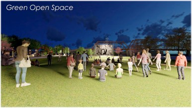 This rendering shows possible programming, a movie night, in the large green space planned for the park next to Hays Street Bridge.