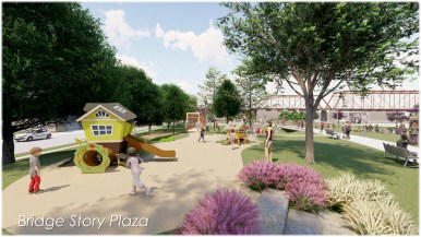 A small playground would feature neighborhood elements such as houses for children to play on.