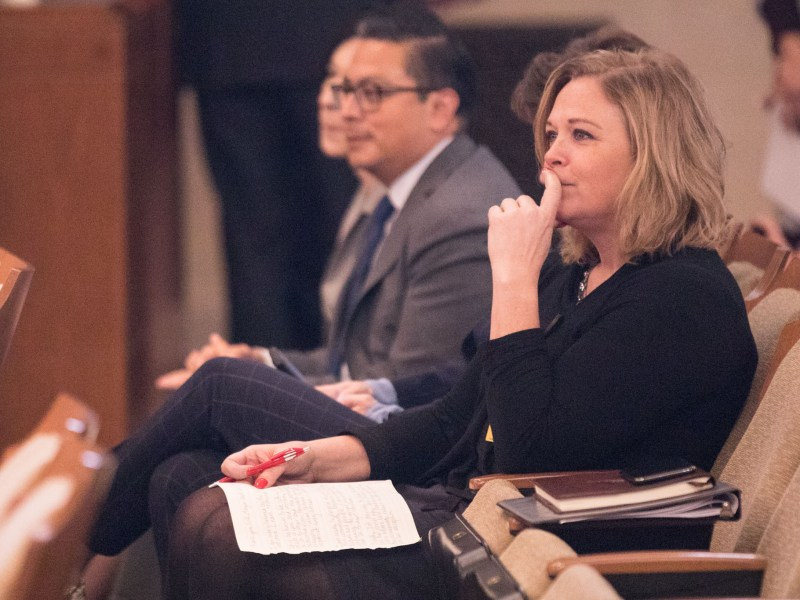 Dawn Emerick (right) sits in City Council Chambers in January.