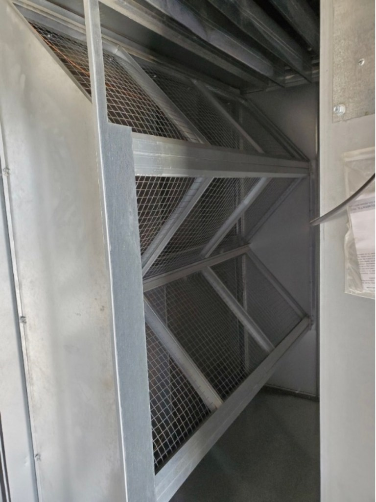 An air handling unit at Clark High School has no filter to keep out dust and debris in this September 2019 photo.