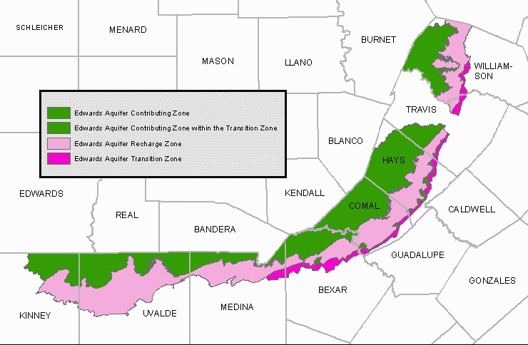 Multiple zones contribute water to the Edwards Aquifer.