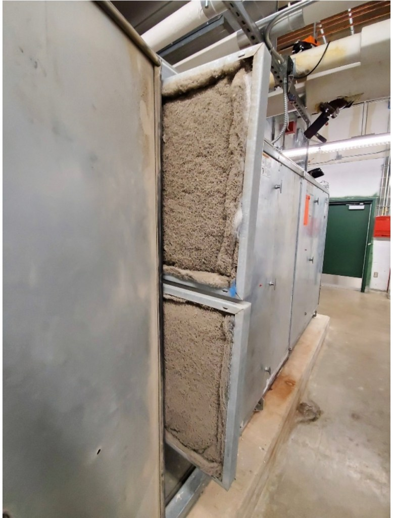 An air handling unit at Stevens High School is caked with dust and lint in this October 2019 photo.