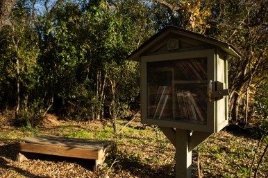 The Little Free Library in the community garden.
