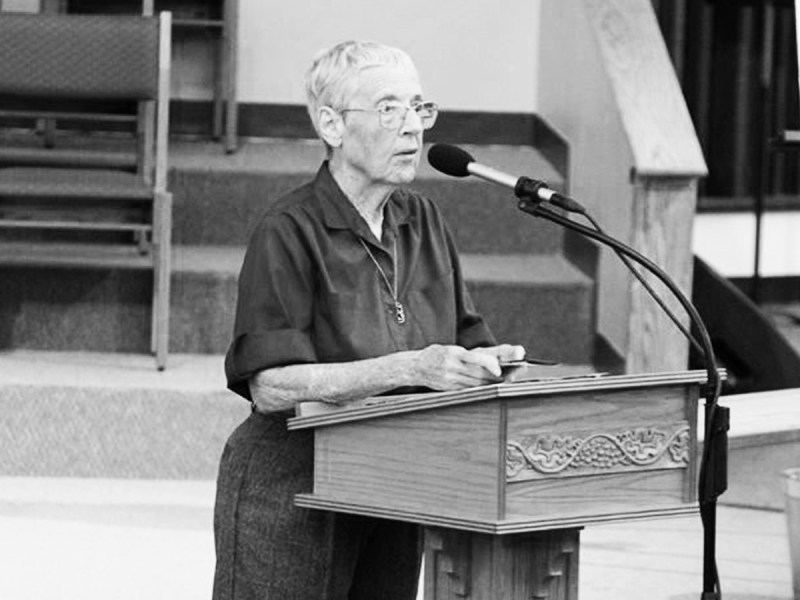 Urban planner and longtime volunteer June Kachtik speaks at a podium in this undated photo.