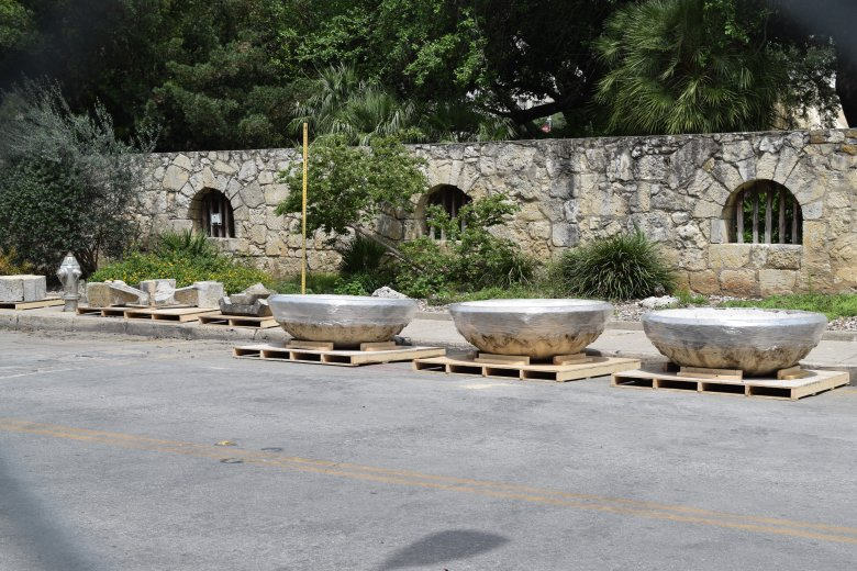 Pieces of the Lady Bird Johnson fountain wrapped in plastic and waiting for transport to the home of Sam Steves III.