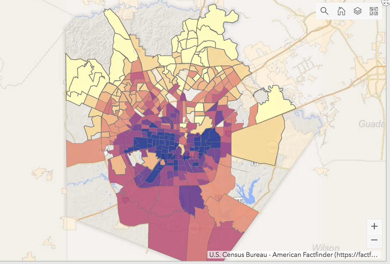 The scores that range from 2 (light yellow) to 10 (blue) are a combined score of the race and income tabs, indicating that the higher the number, the higher the concentration of both people of color and low-income households in that census tract.