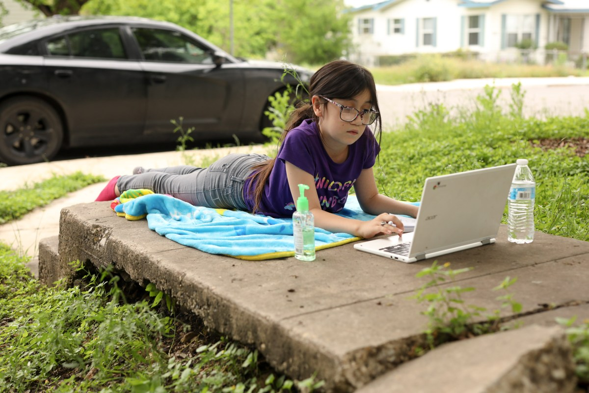 Selena Hernandez, 8, a third grade student at Escondido Elementary School in Judson ISD logs onto her family's personal computer for her first virtual class in April.