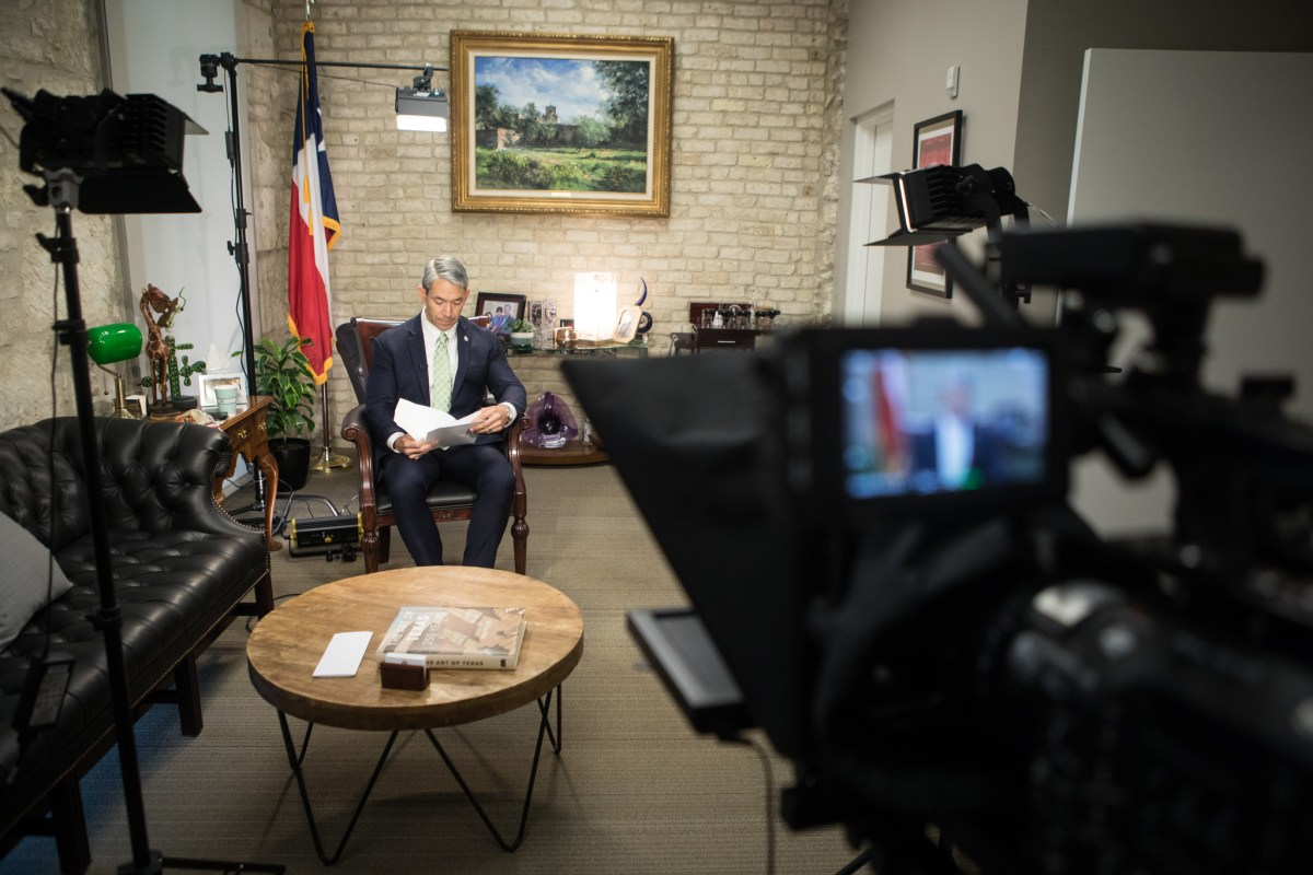 Mayor Ron Nirenberg prepares on Tuesday for the State of the City address in his office.