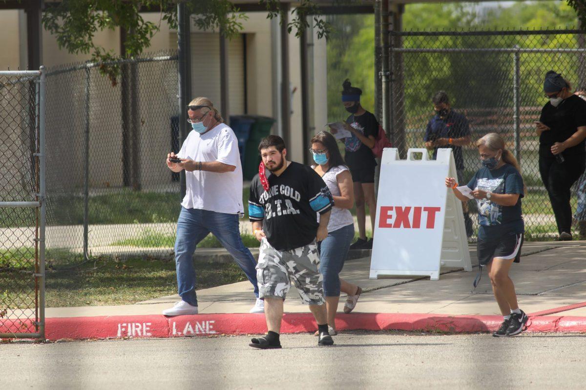 The San Antonio Metropolitan Health District's COVID-19 testing facility at Kazen Middle School accepts up to 800 residents per day who show coronavirus symptoms.