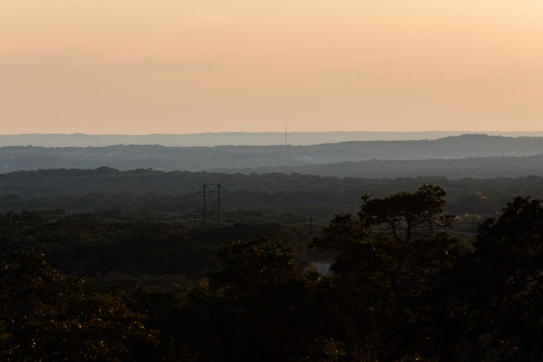 Land owned by Ronnie Urbanczyk and Joyce Moore can be seen stretched across the rolling hills of the Texas Hill Country and the Guadalupe State Park.