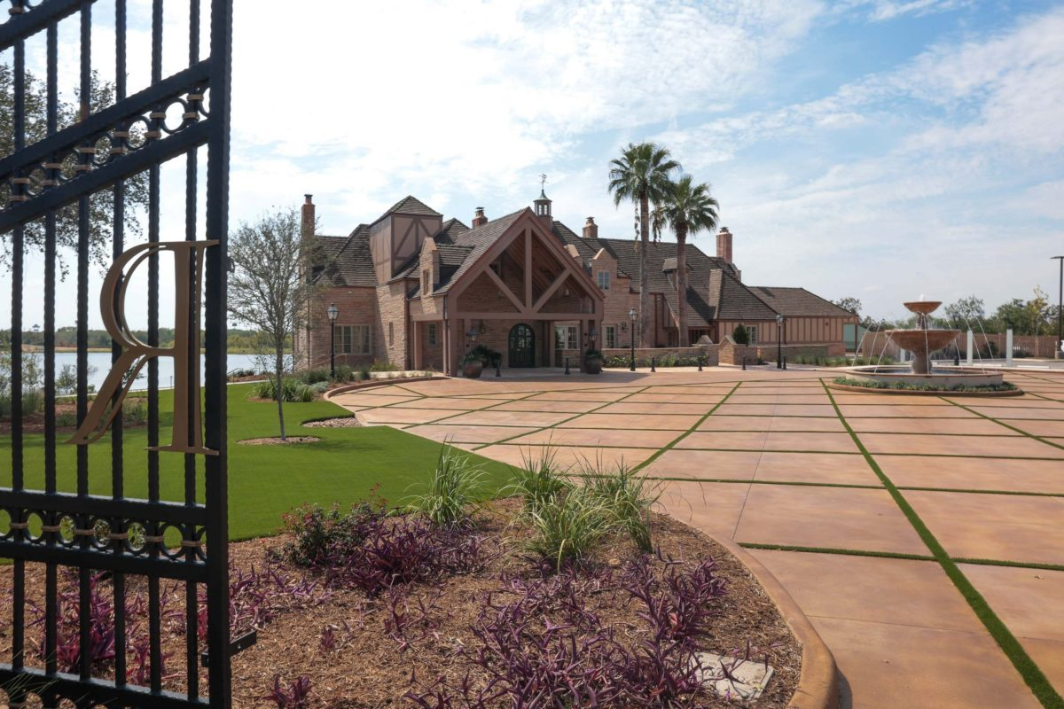 The entrance to the Red Berry Estate makes use of the original entry gates.