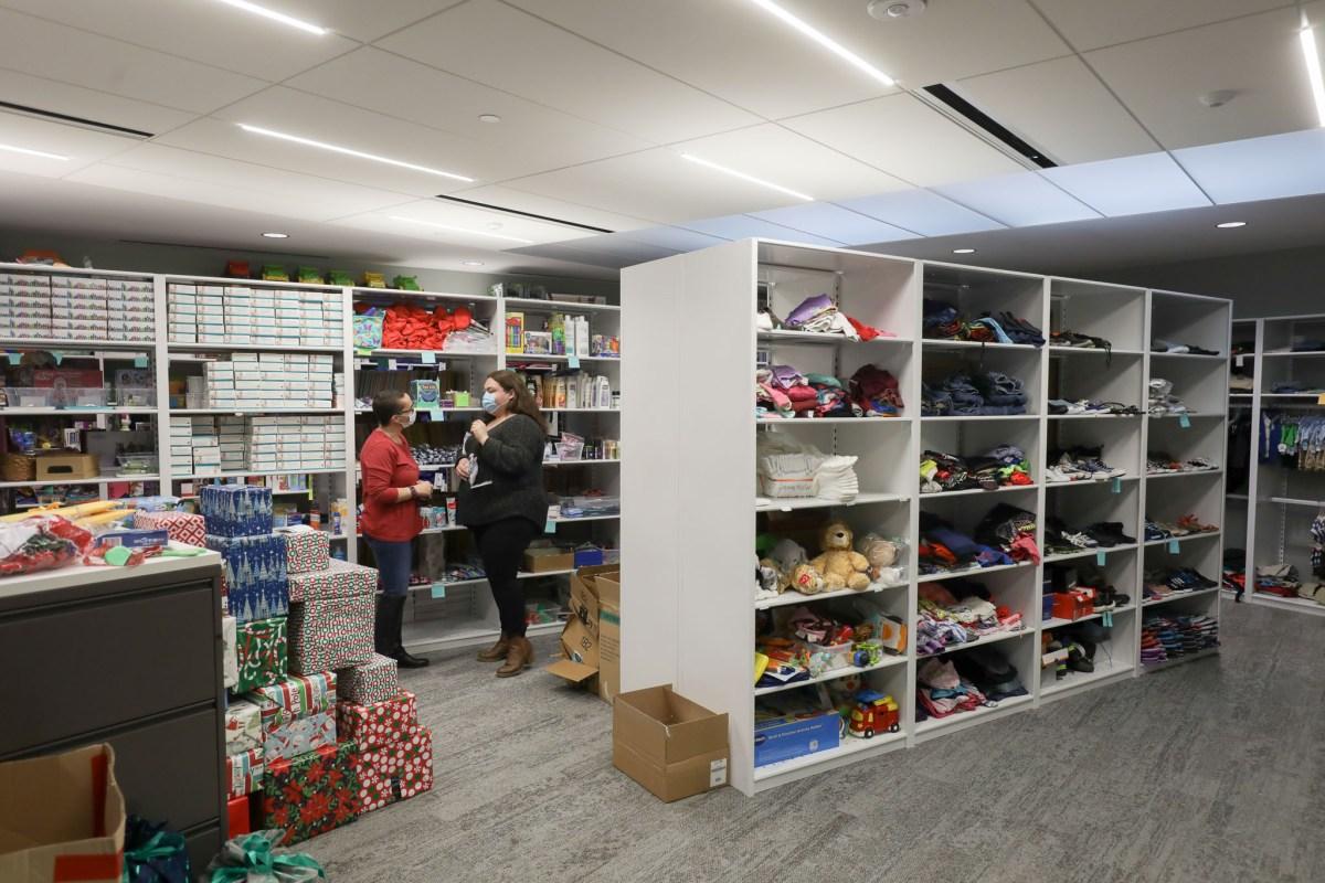 ChildSafe employees Rachel Battaglia and Cortney John work in the Family Resource Center.