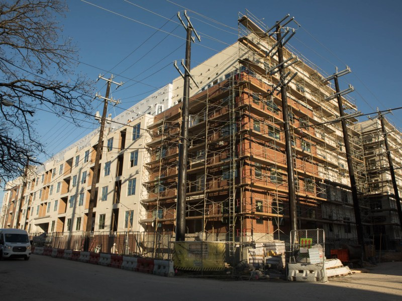 The Flats at River North apartment complex is currently under construction. Photos taken on January 26, 2021.