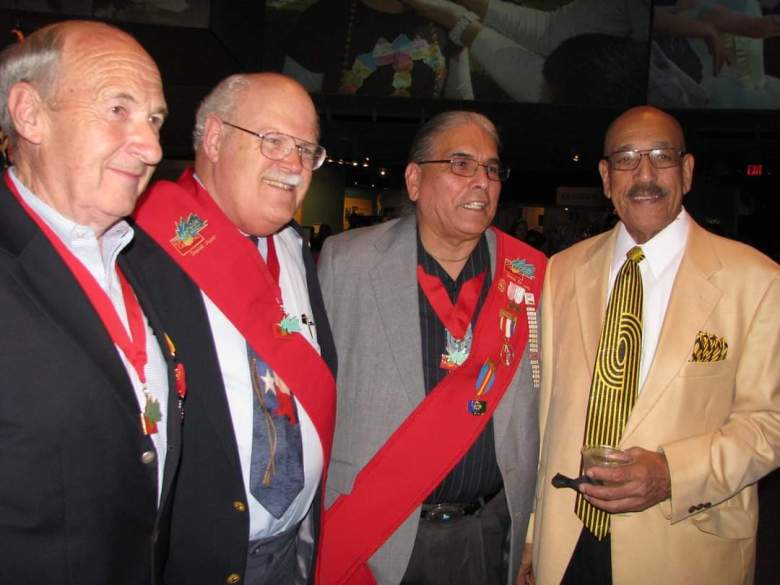 David Jauer's induction to the Order of the Cascarone. From left, Claus Heidi of Beethoven Mannerchor, David Jauer of Sons of the Republic of Texas, Erwin DeLuna of United San Antonio Pow Wow, and Don Moye of San Antonio Zulu Association.
