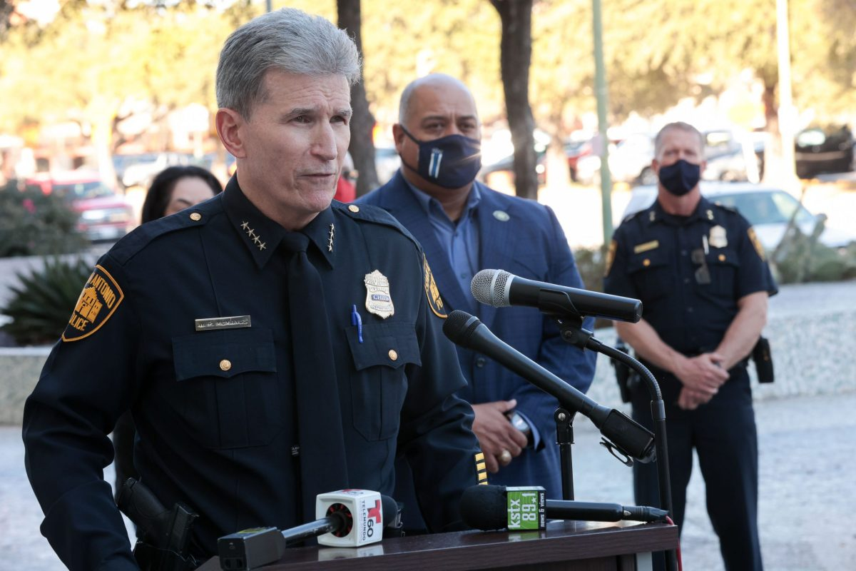 Police Chief William McManus speaks during a press conference announcing the collaboration with the San Antonio Police Officers Association along with the denouncement of the organization 'Fix SAPD'.