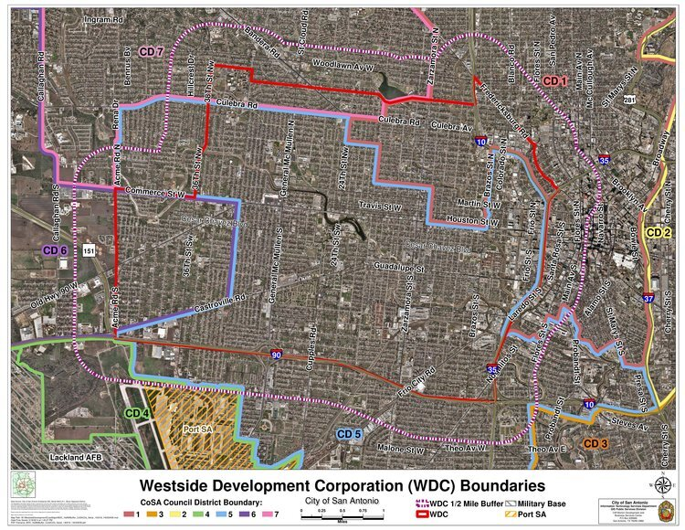 The boundaries of the Westside Development Corporation are marked in red.