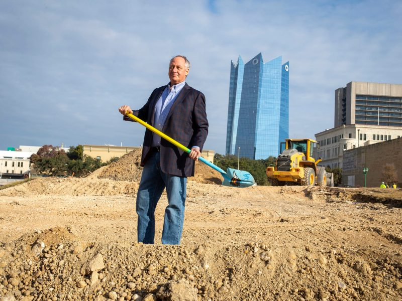 UTSA President Taylor Eighmy participates in the breaking ground ceremony for the National Security Collaboration Center and the School of Data Science building, part of the expansion of the UTSA Downtown Campus.