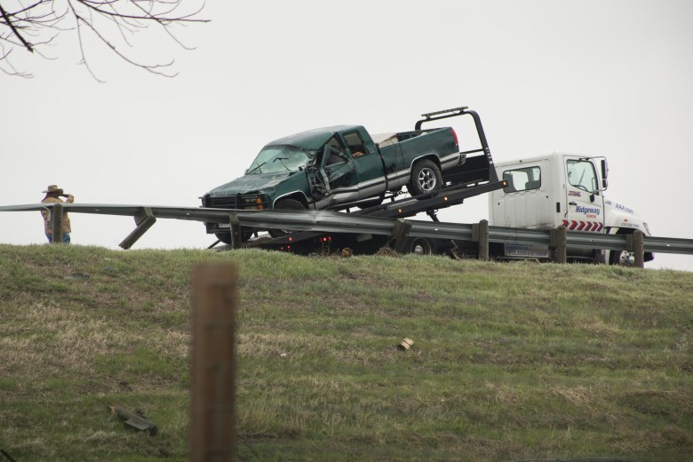 Accidents along I-35 due to inclement weather. Freezing rain and ice. Photos taken on February 14, 2021.
