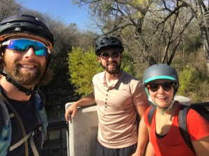 From left, Brendan Gibbons, Mitch Hagney, and Emily Royall take a break along the Salado Creek Greenway trail.