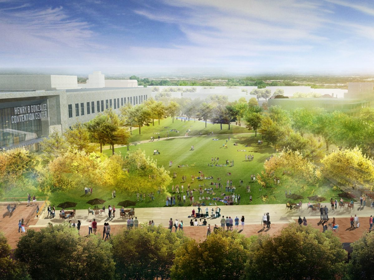 A rendering of the Great Lawn at the future Civic Park.
