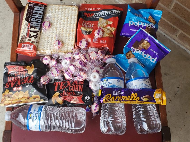 Wednesday food delivery to Lewis Chatham apartments consisted of two candy bars, five snack bags, Life Savers, and peppermint candies, along with a package of matzoh bread and three 12-ounce bottles of drinking water per package.