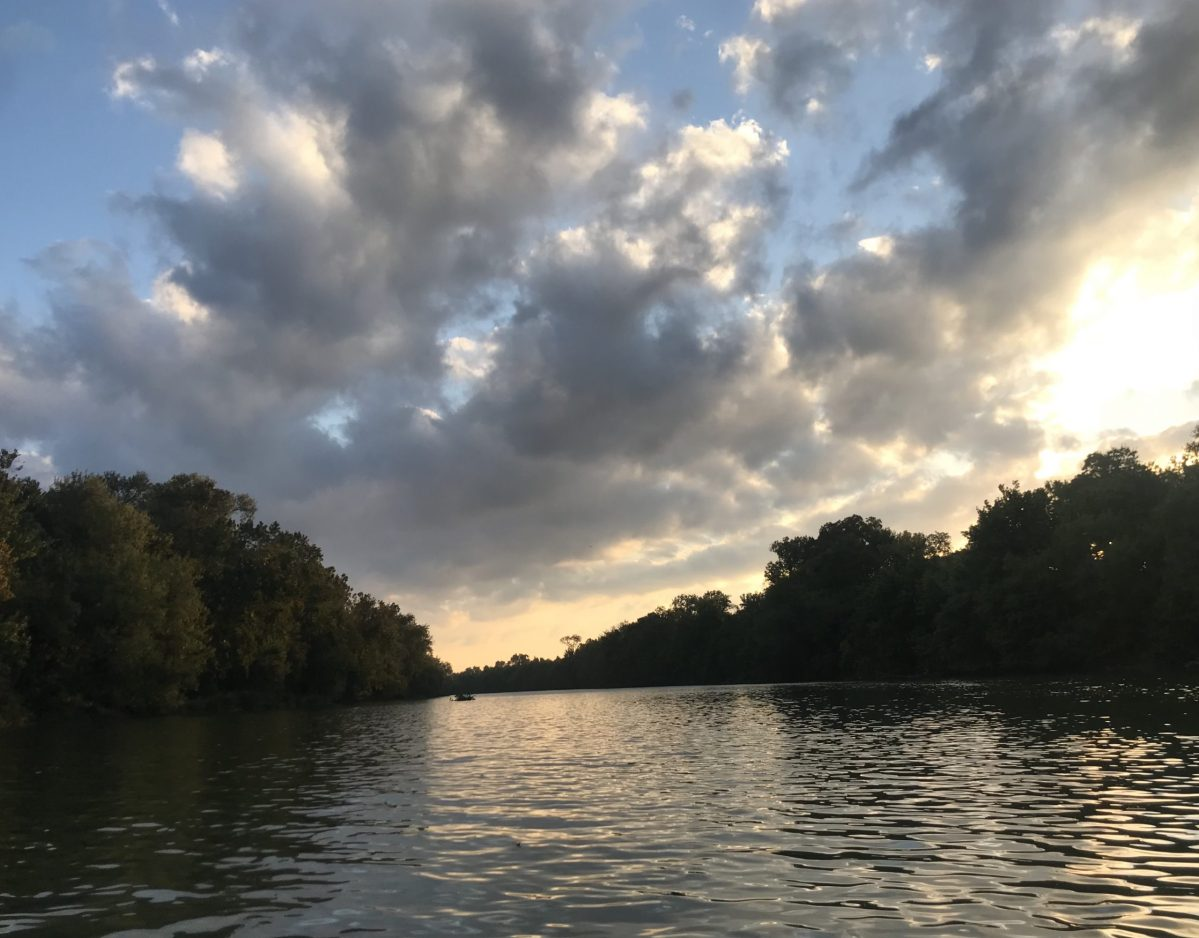 Sunset over the Colorado River between Austin and Bastrop.
