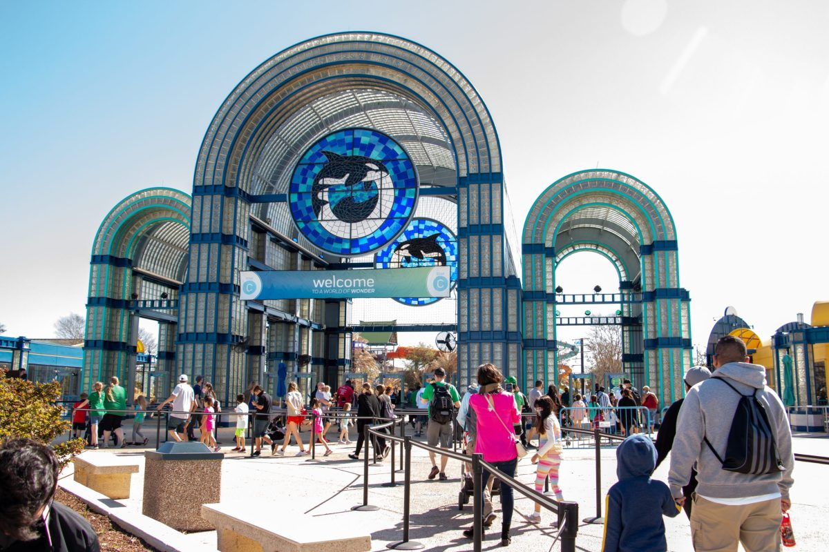 Visitors to SeaWorld San Antonio, who passed the health screening, queue to enter the park at the main entrance. Spring Break is usually a high traffic time for SeaWorld. Wednesday, March 17, 2021.