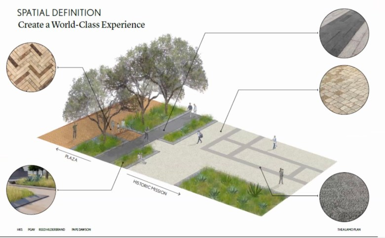 A rendering shows the City's new plan to use pavers and landscaping to delineate Alamo Plaza from the historic Alamo mission.