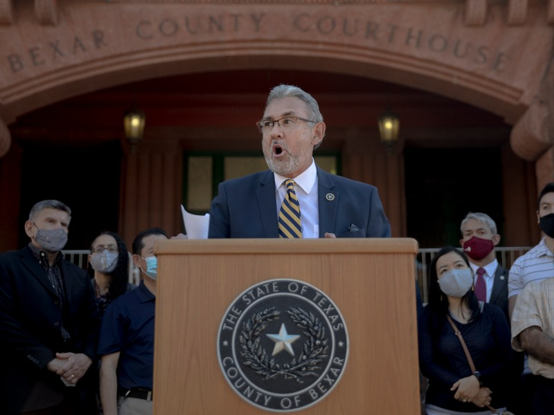 District Attorney Joe Gonzales speaks during a press conference outside the Bexar County Courthouse on Thursday. Gonzales held a press conference to denounce hate crimes perpetrated against Asian Americans and committed to fully prosecute the individuals responsible for racist graffiti painted on the entrance to Noodle Tree, a Northwest Side ramen restaurant.