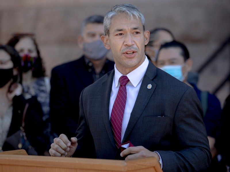 San Antonio Mayor Ron Nirenberg speaks during a press conference outside the Bexar County Courthouse on Thursday, March 18, 2021, in San Antonio, Texas. District Attorney Joe Gonzales held a press conference to denounce hate crimes perpetrated against Asian Americans and committed to fully prosecute the individuals responsible for racist graffiti painted on the entrance to Noodle Tree, a Northwest Side ramen restaurant.
