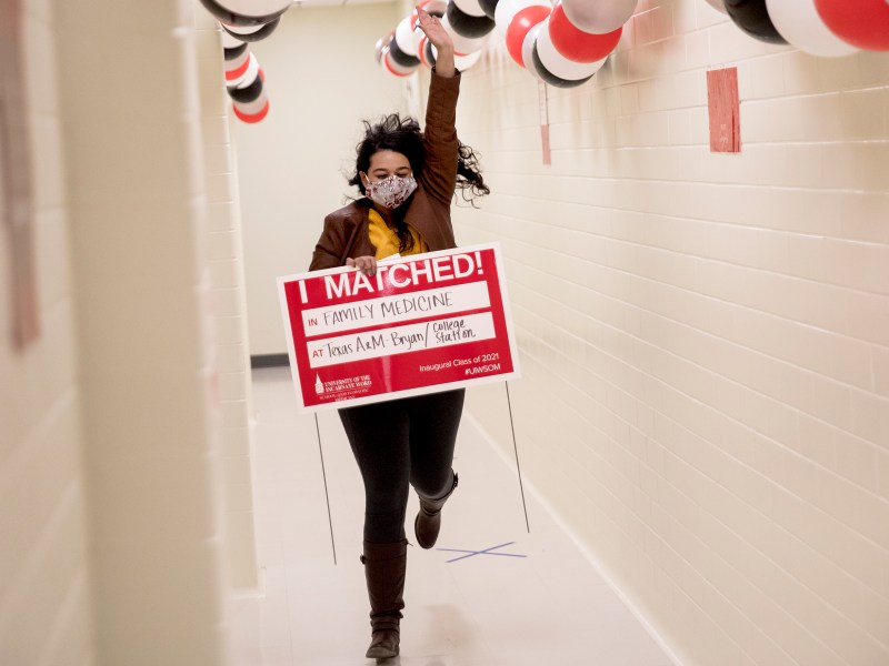 "Divya Kasety runs through a hallway to announce her acceptance to Texas A&M's Family Medicine residency during a ""Match Day"" event on the campus of University of Incarnate Word's School of Osteopathic Medicine on Friday in San Antonio. Celebrated across the nation, Match Day is the day that students graduating from medical school find out where they will complete their residency. It was the first-ever Match Day at UIW as the inaugural class of 2021 prepares to graduate in May."
