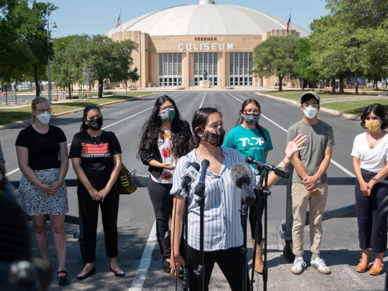 Various immigrant advocacy groups, Including the Texas organizing Project, the Immigrant Legal Resource Center, and SA Stands, toured the Freeman Coliseum where they said 1,898 migrant children are being held. Carolina Canizales, speaking, and some of the people behind her responded directly to the allegations Governor Abbott made last Wednesday.