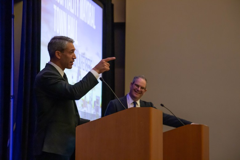 Mayor Ron Nirenberg answers questions from Scott Joslove, President and CEO of the Texas Hotel and Lodging Association during the Hospitality Industry Mayoral Town Hall.