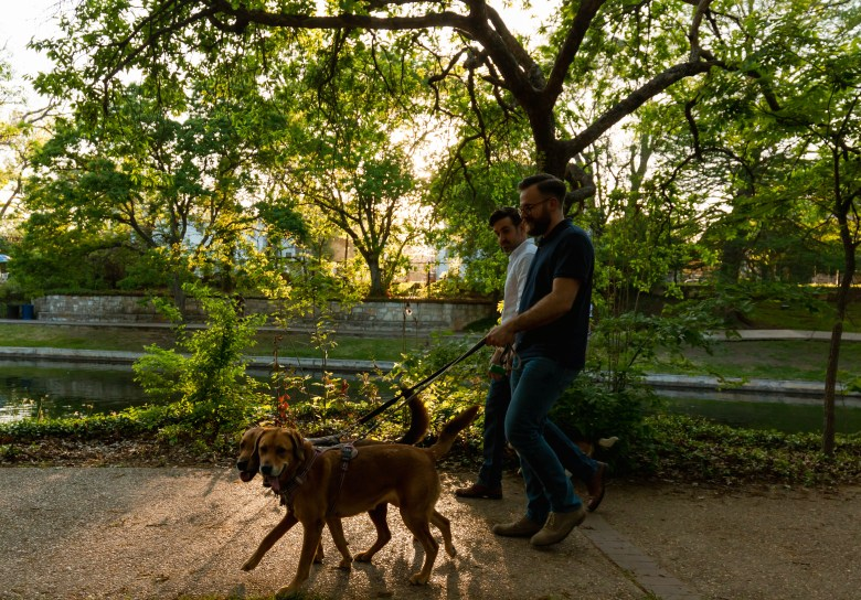 Levi Stoneking and Jimmy Moore love taking their three dogs for a walk along the San Antonio Riverwalk in the historic King William district.