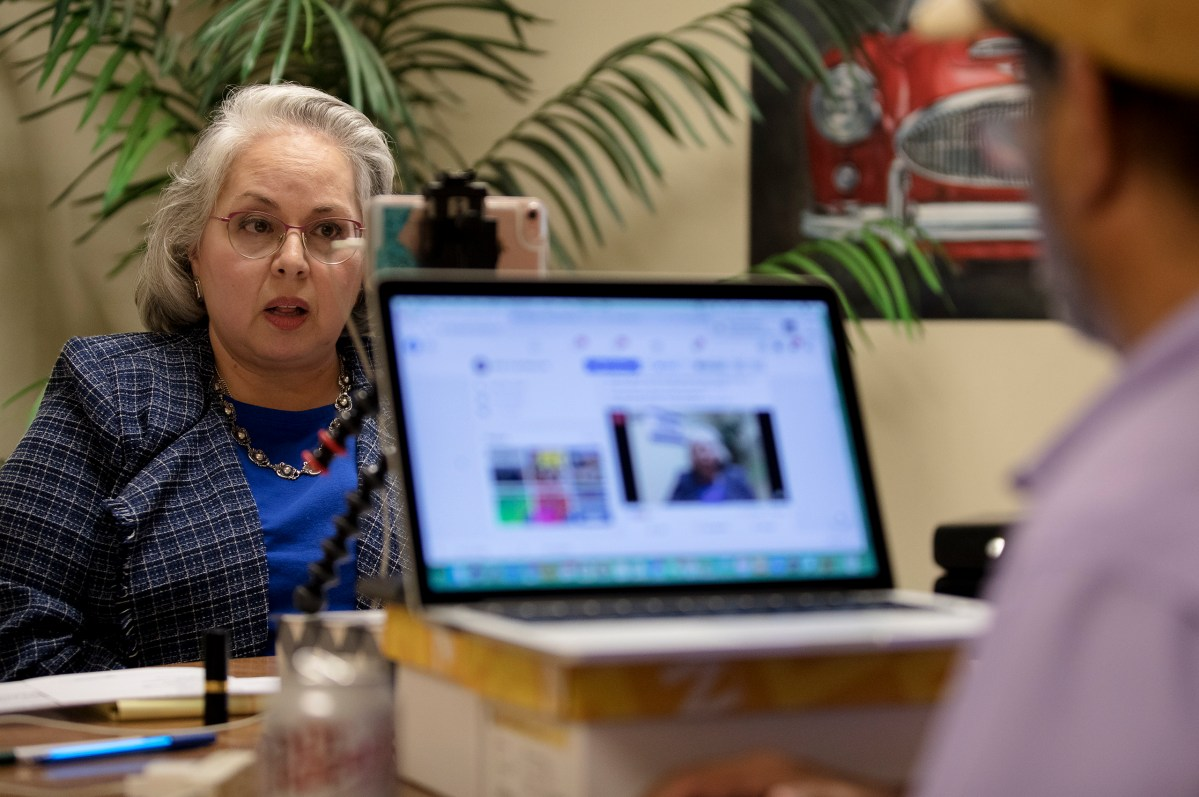 Mayoral candidate Denise Gutierrez-Homer participates remotely in a mayoral forum on Thursday.