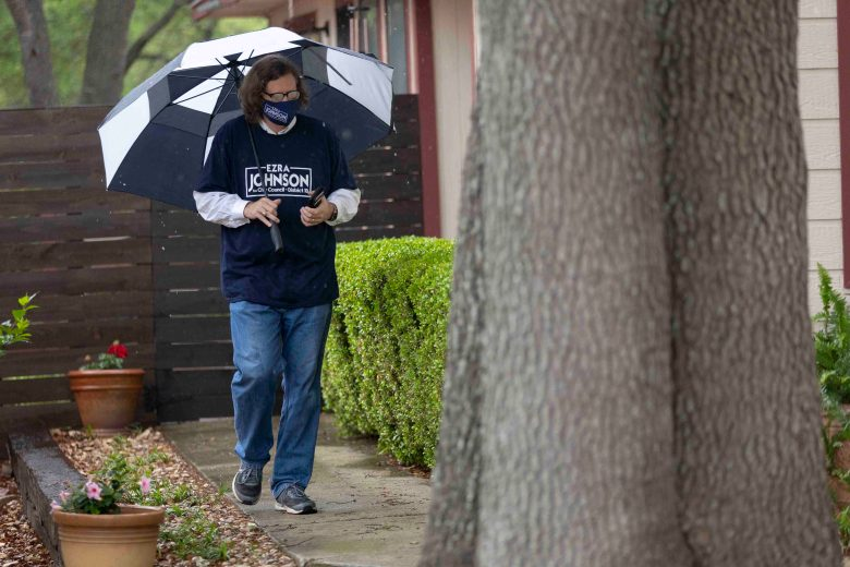 Council District 10 candidate Ezra Johnson visits voters in his district ahead of municipal elections on May 1st.