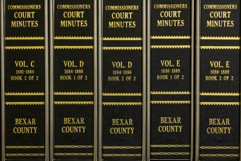 Bexar County Commissioners Court records dating back to the late 1800s are kept at the Bexar County Archives building.