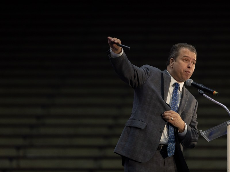 SAISD Superintendent Pedro Martinez presents to business and community leaders on the state of the school district at the Alamo Convocation Center on Tuesday.