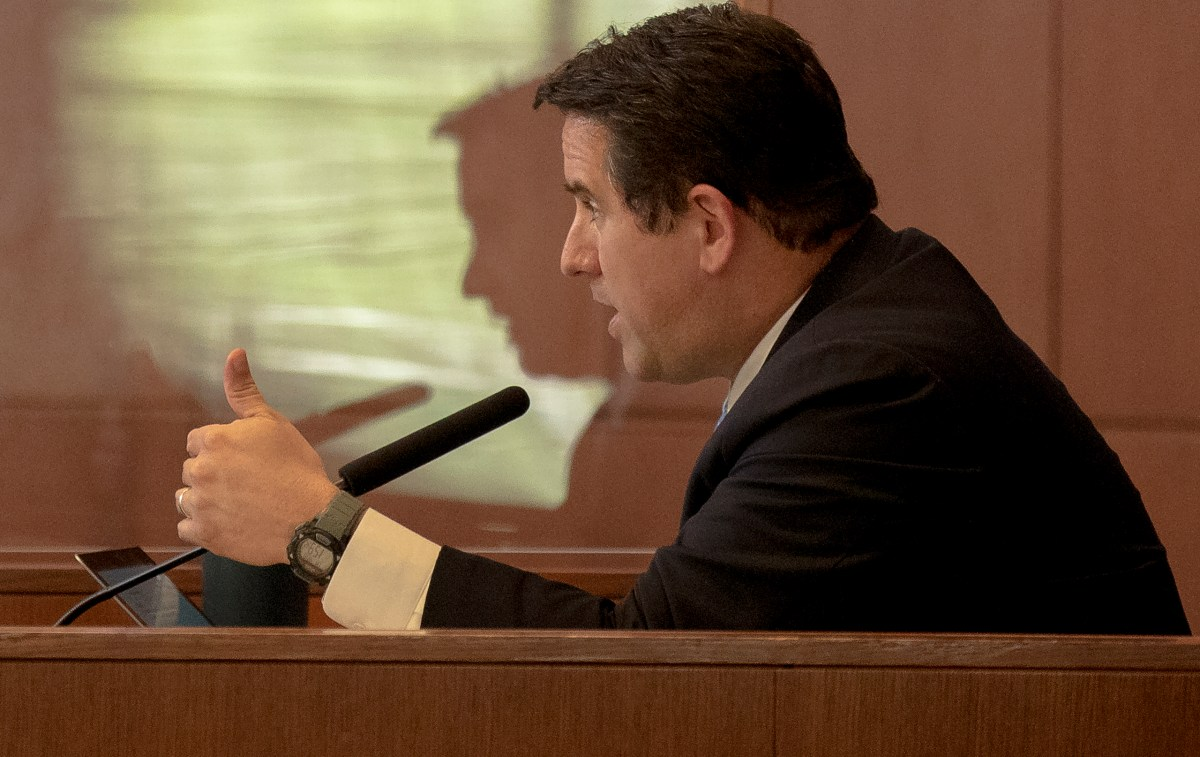 City Manager Erik Walsh speaks during a City Council special meeting on Thursday. The council convened in person for the first time since November when they suspended in-person meetings as Covid-19 cases spiked.