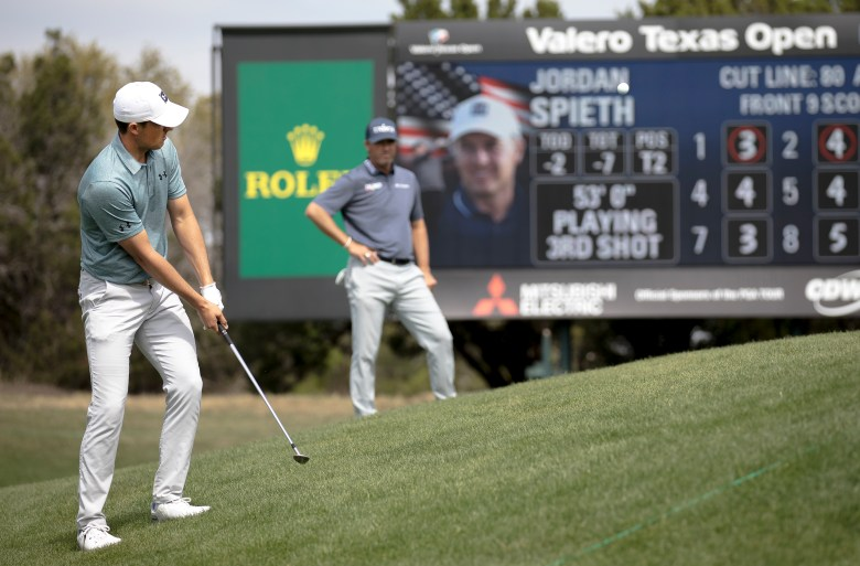 Jordan Spieth hits a shot on the ninth hole during the Texas Open at TPC San Antonio on Friday.