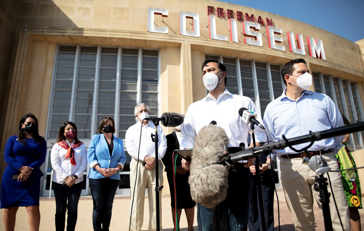 U.S. Rep. Joaquin Castro (D-San Antonio) speaks during a Friday press conference in front of the Freeman Coliseum where unaccompanied migrant youths are being housed.