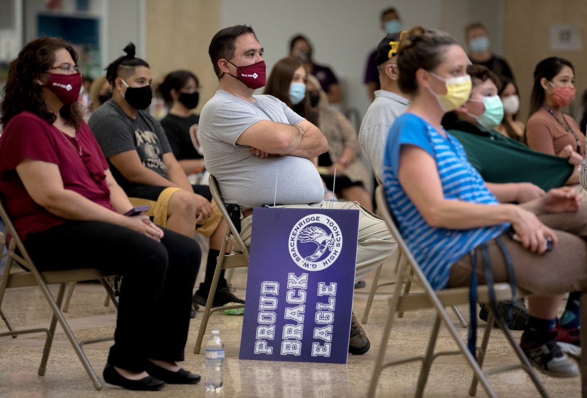 Parents, teachers and students listen to SAISD Superintendent Pedro Martinez's state of the district speech on Wednesday.