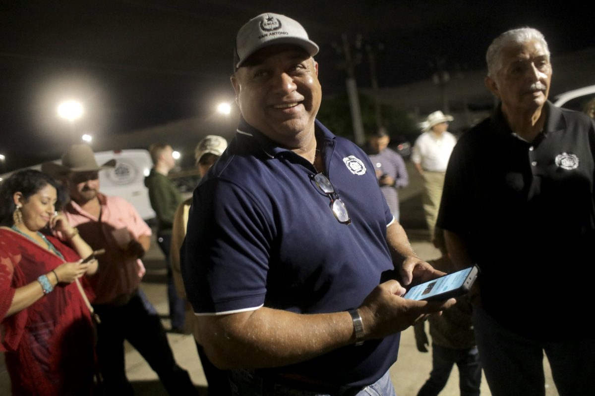 """San Antonio Police Officers Association President John """"Danny"""" Diaz smiles as he prepares to speak with the media on the failure of Proposition B."""