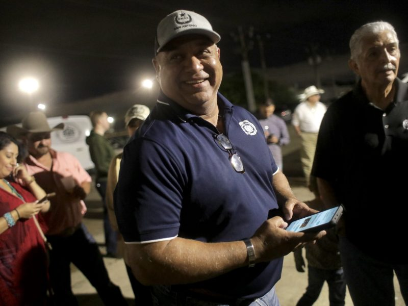 "San Antonio Police Officers Association President John ""Danny"" Diaz smiles as he prepares to speak with the media on the failure of Proposition B."