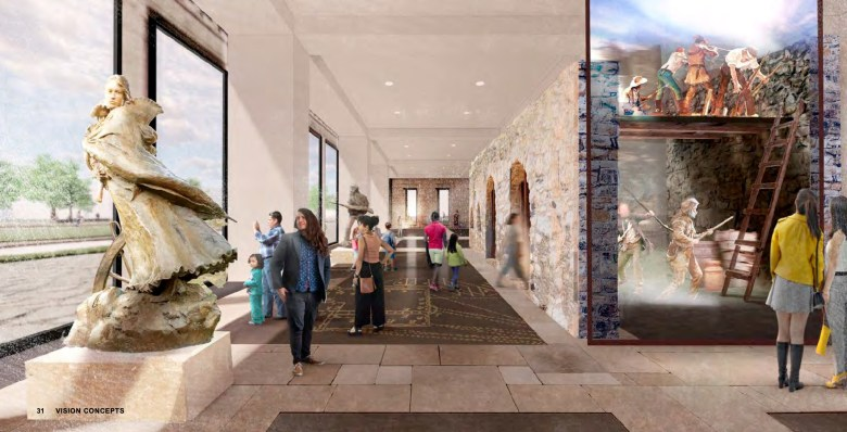 A conceptual graphic shows what a museum and visitor center for Alamo Plaza could look like at the historic Woolworth and Crockett buildings.