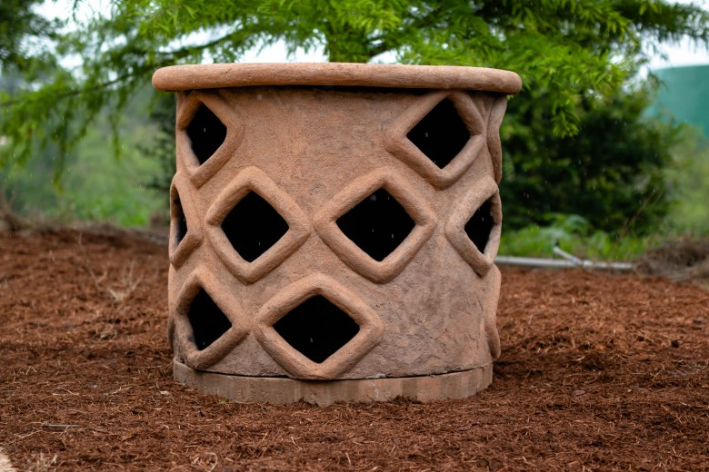 """Peter Pierson, with the San Antonio River Authority, explained that they built a """"bug hotel"""" that will be filled with various materials and vegetation to encourage the nesting of various bugs and pollination of plants in the garden."""