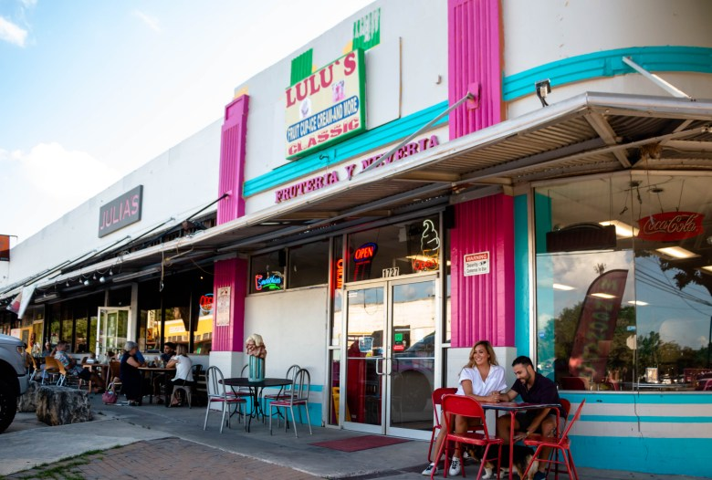 Sophia Campos and her fiancé, Adam Pena, enjoy visiting the strip of restuatrans and cafes, and shops on Blanco just around the corner from their home.
