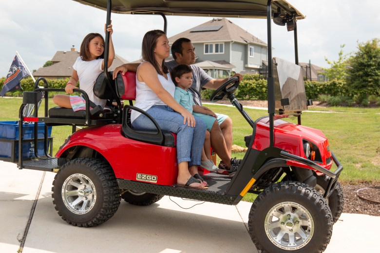 Phillip Casiano explained that he and many of his family and friends, who also live in The Crossvine, bought golf carts to ride around to all the various amenities interspersed throughout the community.